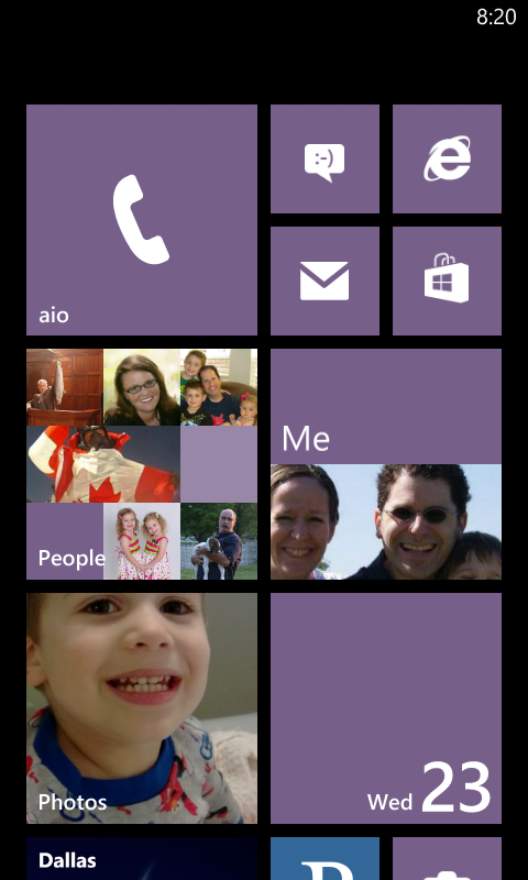 Aio Wireless - Lumia 620 Start Screen
