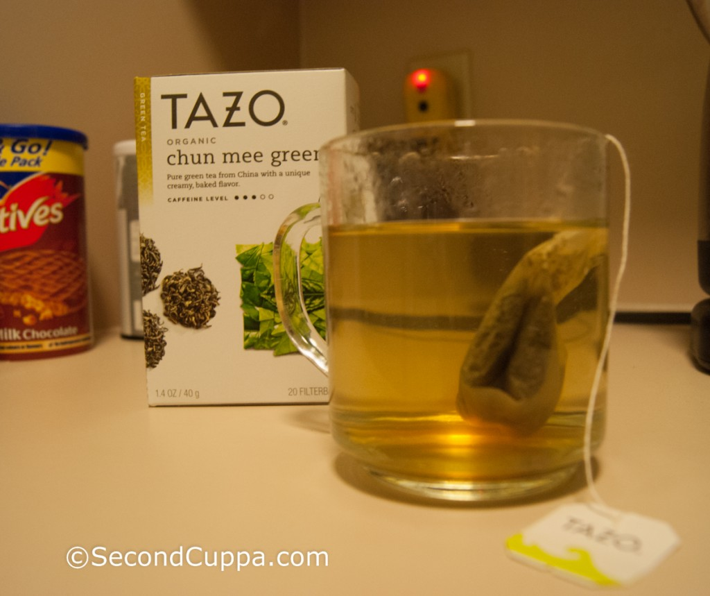 Tazo Chun Mee (Pan-Fired) Green Tea Brewing in a Mug